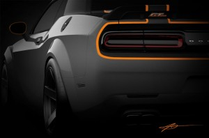 A sneak peek at the Mopar-customized Dodge Challenger, one of many Mopar-modified vehicles that will debut at the Specialty Equipment Market Association (SEMA) Show, November 3-6 at the Las Vegas Convention Center.
