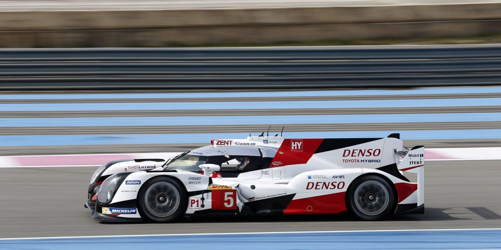 05 DAVIDSON Anthony (gbr) BUEMI Sebastien (che) NAKAJIMA Kazuki (jpn) Toyota TS050 hybrid lmp1 team Toyota Gazoo racing action during the 2016 FIA WEC World Endurance Championship prologue tests at Paul Ricard HTTT, Le Castellet France, March 24 to 26  2016 - Photo DPPI / Jean Michel Le Meur.