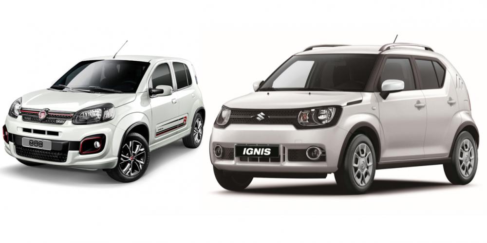 A tres caídas. Suzuki Ignis vs Fiat Uno