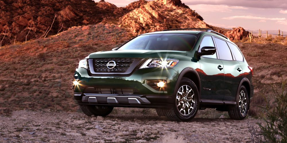 The 2019 Pathfinder Rock Creek Edition exterior includes 18-inch wheels with unique 255/60R18 all-season tires, black mesh grille, black roof rails, black door handles and outside rearview mirrors, black front and rear fascia accents and unique badging on the front doors.