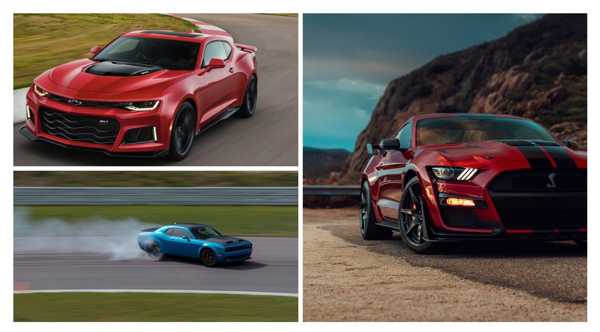 Comparativa de american muscle: Shelby vs Hellcat vs ZL1,
