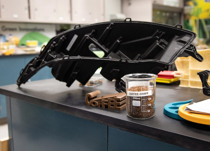 Ford Motor Company and McDonald's USA will soon be giving vehicles a caffeine boost by using part of a familiar staple in the morning routine, coffee beans, in vehicle parts such as headlamp housing.