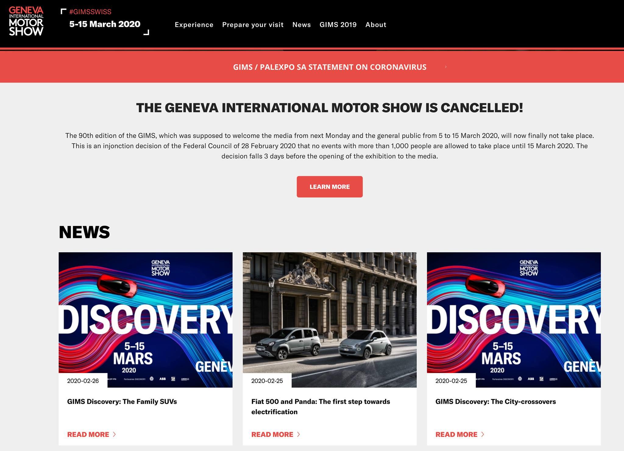 Se cancela Auto Show de Ginebra por Coronavirus