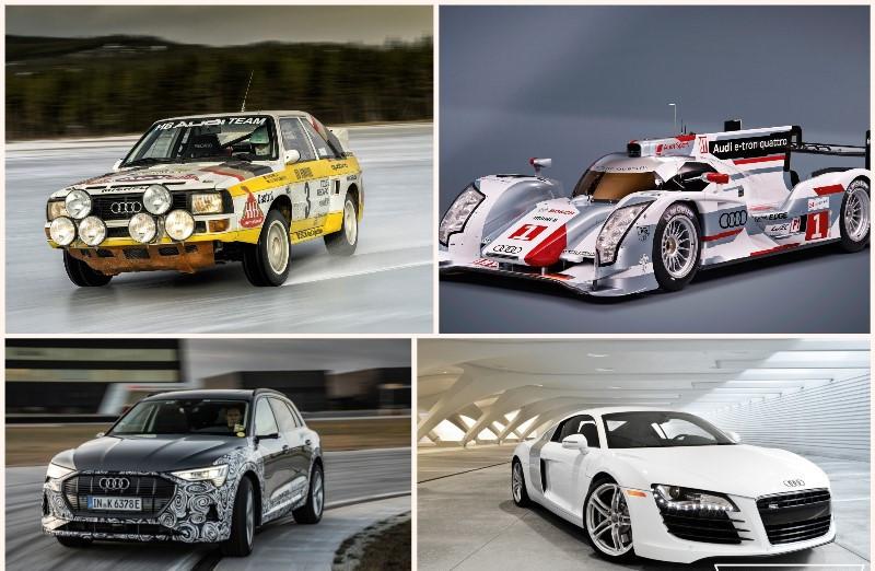 Cuatro automóviles históricos de Audi con tracción quattro