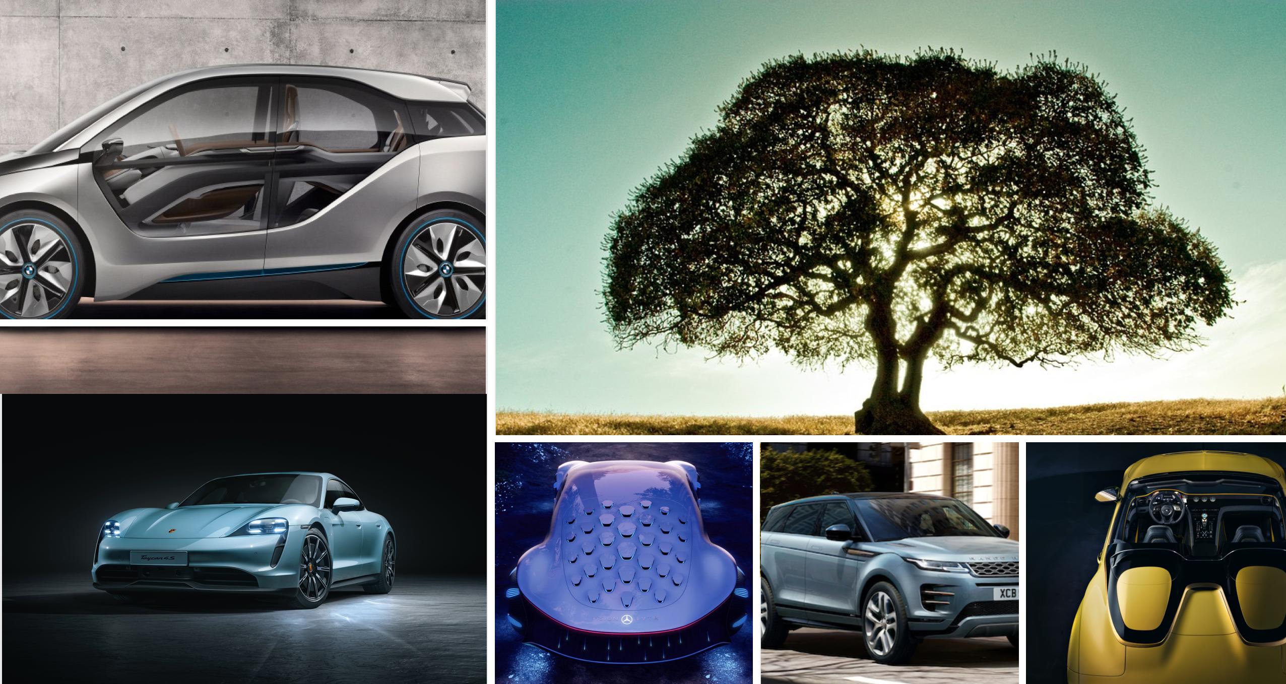 Autos verdes y conceptos con materiales sostenibles