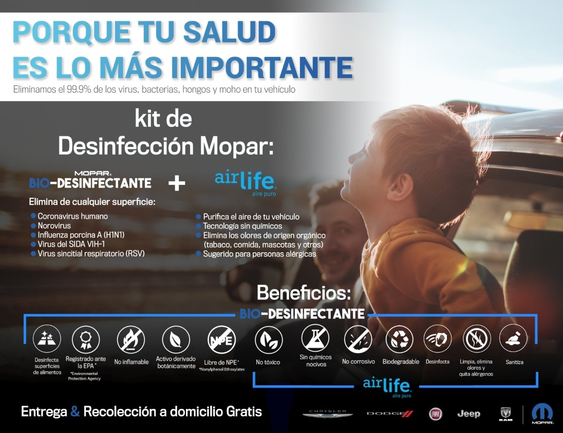 Mopar desinfecta tu auto con innovadores productos