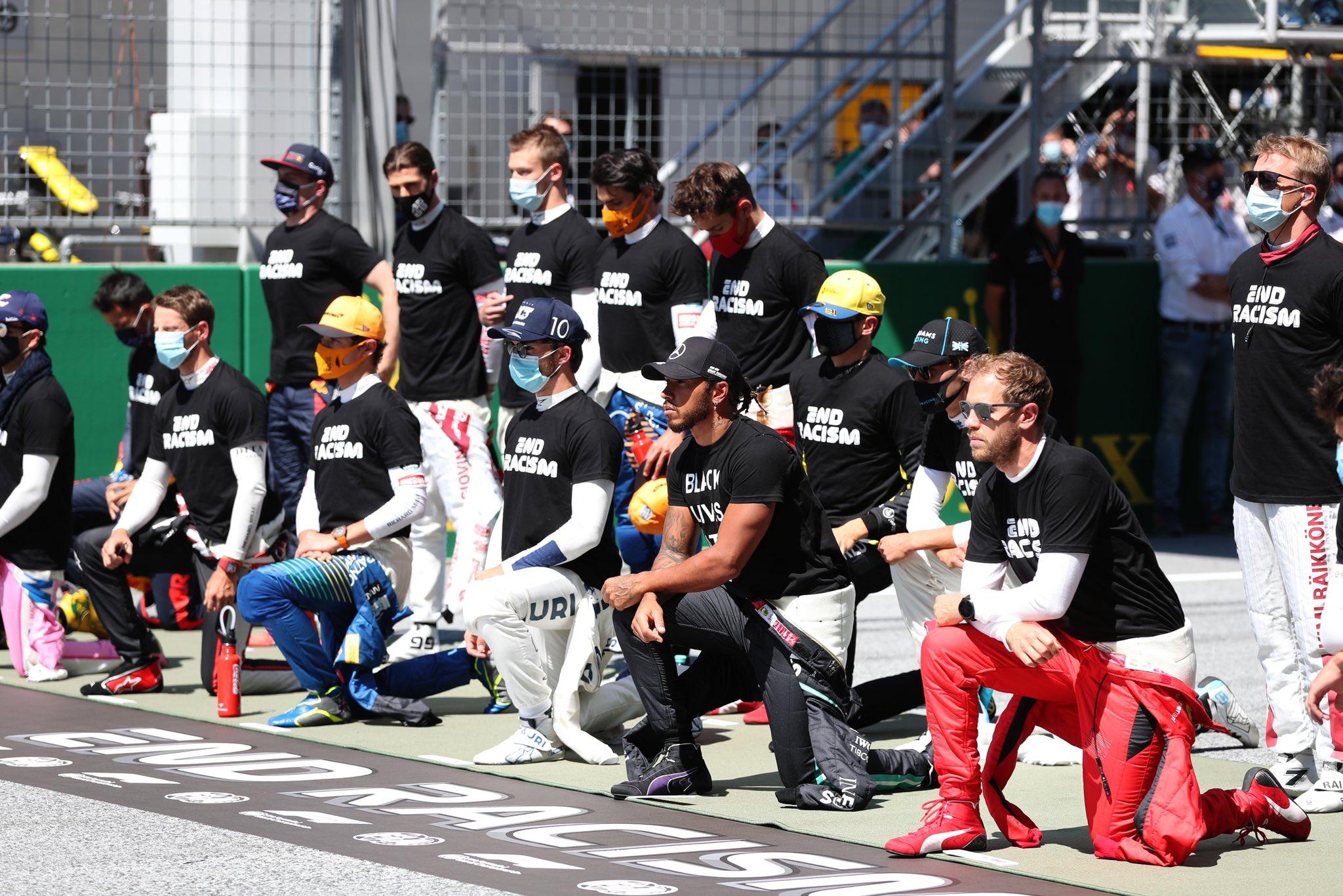 Pilotos de F1 protestaron contra el racismo en Austria