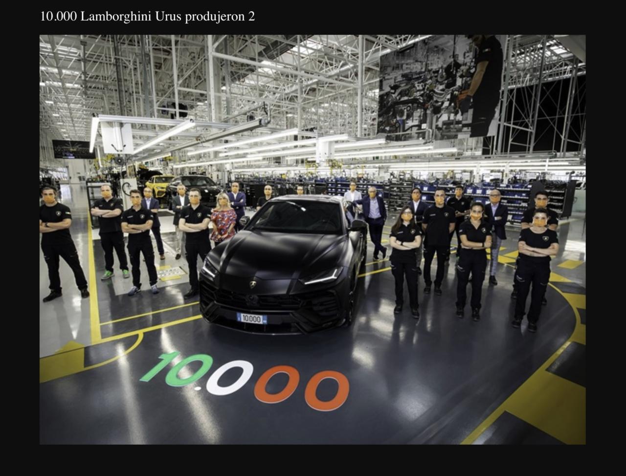 Lamborghini celebra su Urus número 10,000