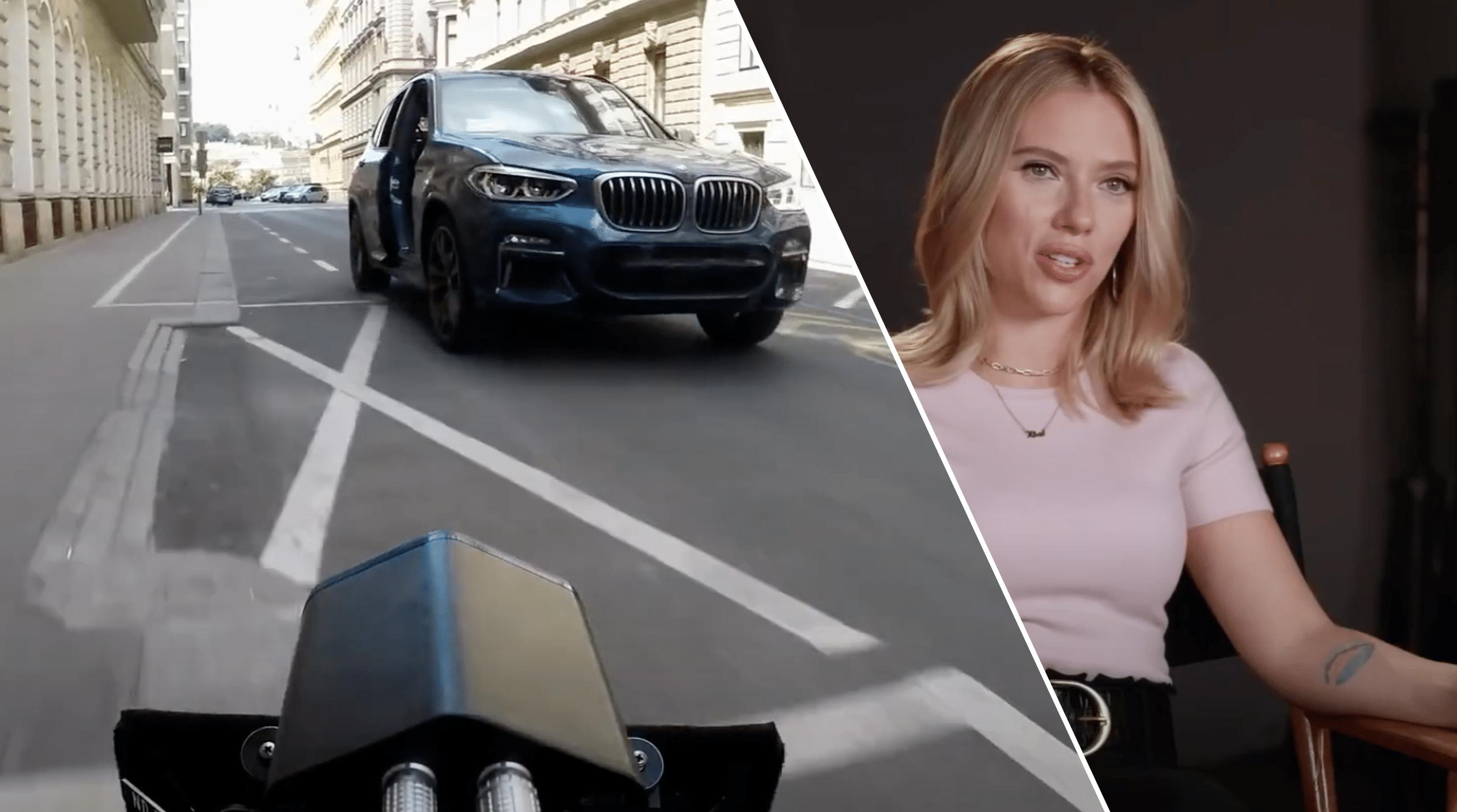 Scarlett Johansson y BMW X3 en acción para Black Widow de Marvel